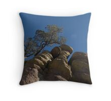 tree on the rocks Throw Pillow