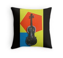 Funky Violin , old hand painted violin design Throw Pillow