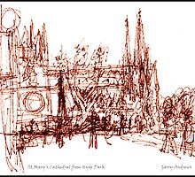 St.Mary's Cathedral from Hyde Park.  by Garry Andrews