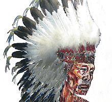 Native American Indian in Headdress  by Tom Conway