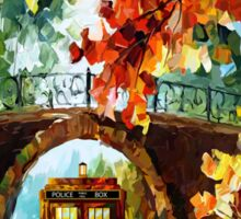 Abandoned time travel phone box under the bridge painting Sticker
