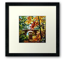Abandoned time travel phone box under the bridge painting Framed Print