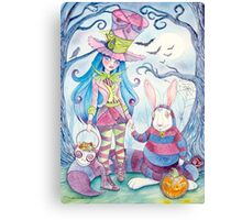 Alice and the White Rabbit, dressed as the Hatter and the Cheshire Cat for Halloween Canvas Print