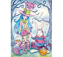Alice and the White Rabbit, dressed as the Hatter and the Cheshire Cat for Halloween Photographic Print