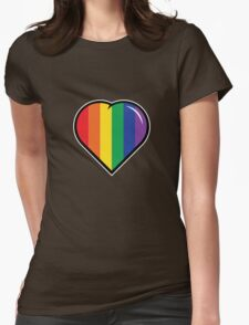 Pro-Love Rainbow Heart Womens Fitted T-Shirt