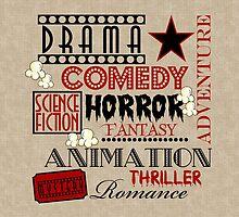 Movie Theater Cinema Movie Genre ticket Pillow-Red by littlebeane