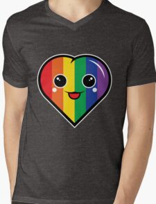 Cute Kawaii Rainbow Heart Mens V-Neck T-Shirt