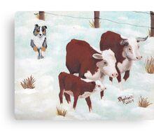 """First Snow"" ~ Australian Shepherd ~ Oil Painting  Canvas Print"