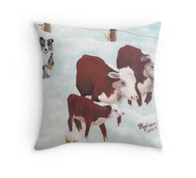 """First Snow"" ~ Australian Shepherd ~ Oil Painting  Throw Pillow"