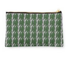 Black And White Preying Mantis On Leaves with Green Background Studio Pouch
