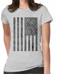 US Flag Grunge Style Womens Fitted T-Shirt