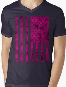 US Flag Grunge Style Mens V-Neck T-Shirt