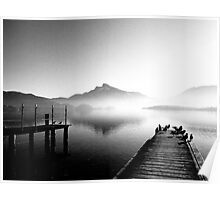 Mondsee with morning fog Poster