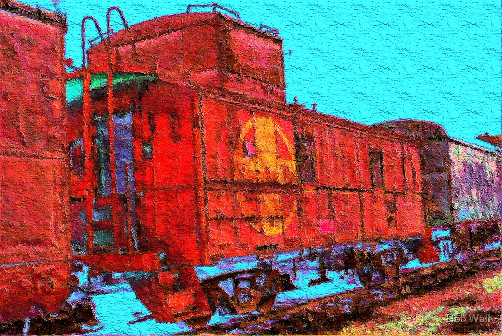 Santa Fe Railroad Caboose by Bob Wall