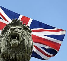 The Maiwand (or Forbury) Lion against union flag by buttonpresser