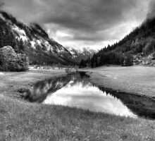 Spring meets winter in the Alps (B&W) by PeterCseke