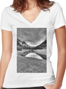 Spring meets winter in the Alps (B&W) Women's Fitted V-Neck T-Shirt
