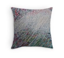 Anemone beeswax encaustic on wood Throw Pillow