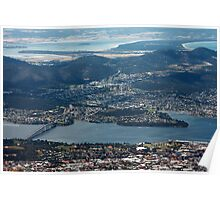 Hobart, Tasmania, as seen from Mt Wellington Poster