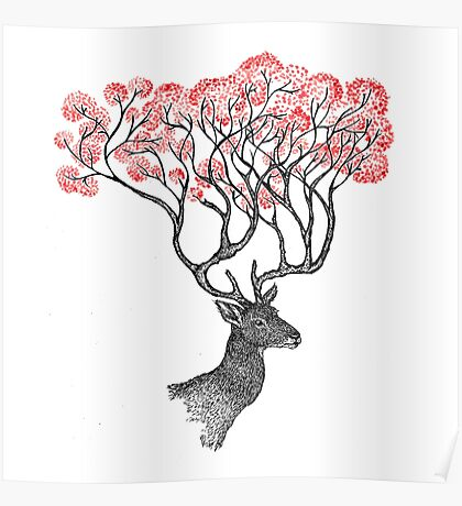 Pink Blossom Antlers Poster