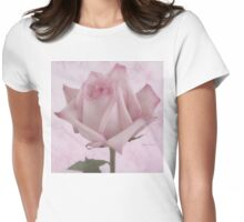 Single Pink Rose Blossom Womens Fitted T-Shirt