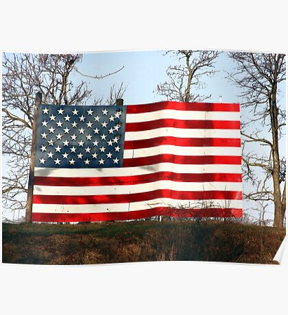 American Flag display in rural Indiana on top of hill Poster