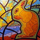 302 - STAINED-GLASS WINDOW BUNNY - DAVE EDWARDS - COLOURED PENCILS &amp; INK - 2010 by BLYTHART