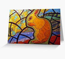 302 - STAINED-GLASS WINDOW BUNNY - DAVE EDWARDS - COLOURED PENCILS & INK - 2010 Greeting Card
