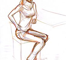 sitting girl by natoly