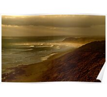 Sunset Sunburst, 13th Beach, Surf Coast Poster