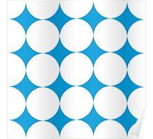 Diamond Brush Stroke Pattern (Blue White) Poster