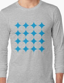 Diamond Brush Stroke Pattern (Blue White) Long Sleeve T-Shirt