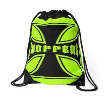 Chopper Maltese Cross Design Lime Green Drawstring Bag
