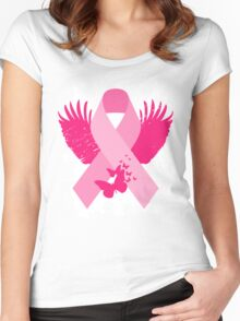 Pink Ribbon Design Women's Fitted Scoop T-Shirt