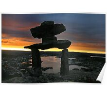 Inushuk, overlooking Newfoundland town at sunset Poster