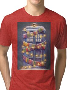 Doctor Who Christmas Tardis  Tri-blend T-Shirt
