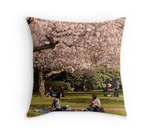 Relaxing on the first day of Spring Throw Pillow