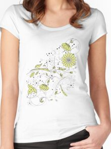 Doodle line drawing decorative flowers chartreuse Women's Fitted Scoop T-Shirt