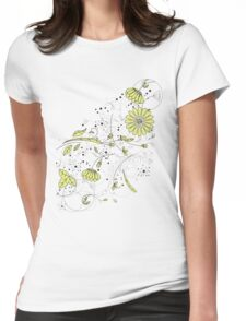 Doodle line drawing decorative flowers chartreuse Womens Fitted T-Shirt