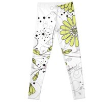 Doodle line drawing decorative flowers chartreuse Leggings