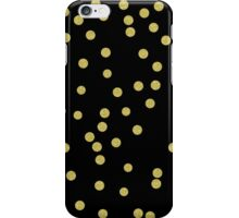 Scattered Confetti round gold glitter confetti on black iPhone Case/Skin
