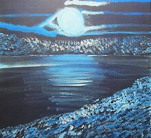 blue moon over the lake by Sylvia Scriver