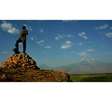 Statue with Mount Ararat Photographic Print