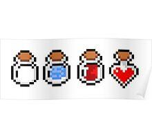 Zelda's potions - pixel art Poster