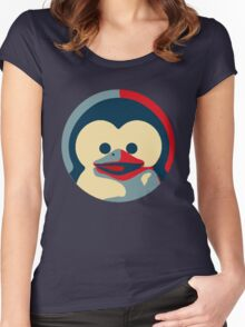 Linux tux penguin obama poster baby  Women's Fitted Scoop T-Shirt