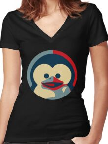 Linux tux penguin obama poster baby  Women's Fitted V-Neck T-Shirt