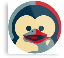 Linux tux penguin obama poster baby  Metal Print