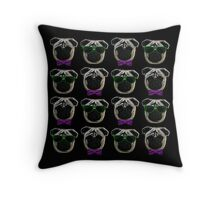 """Cool Pugs"" purple/green Throw Pillow"