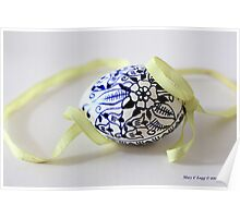 single tradtional Czech Easter egg with blue onion pattern and yellow ribbon Poster