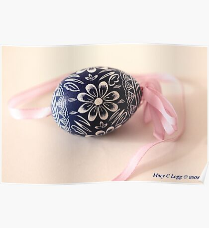 traditional hand-painted blue Czech Easter egg with sunflower motif Poster